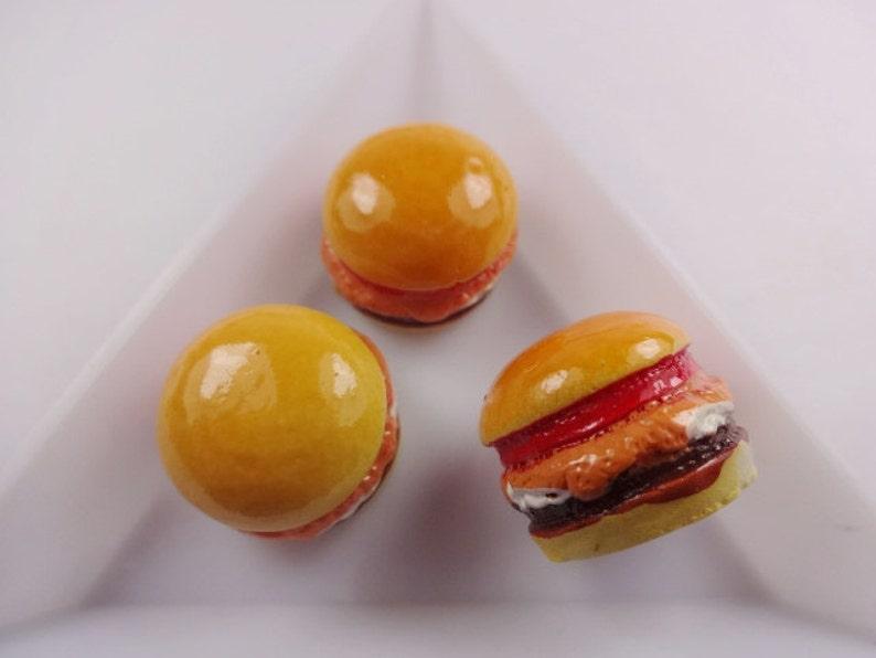4pcs Kawaii resin meat hamburger cabochon for phone decoden