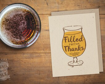 Thank You Beer Card, Folded Card; Thankful, Blank Inside, Craft Beer Lover, Beer Art, Greeting Card, Beer Glass, IPA, Beer Saying, Thank You