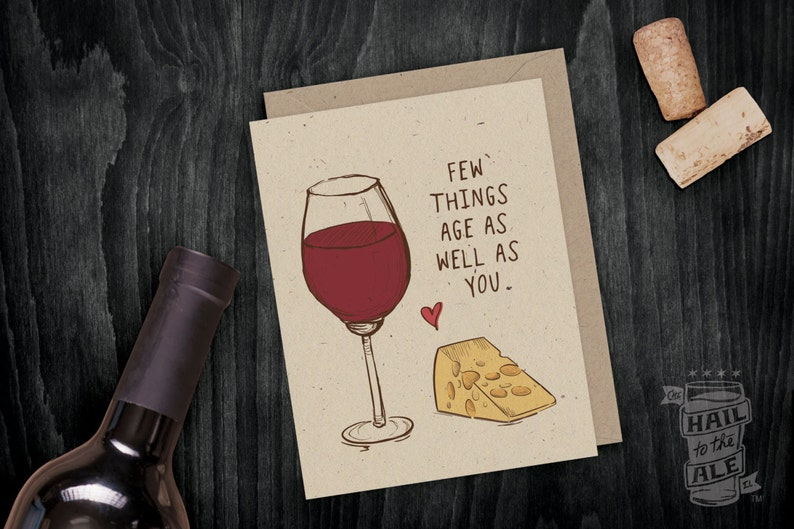 Wine Cheese Birthday Card Lover Greeting