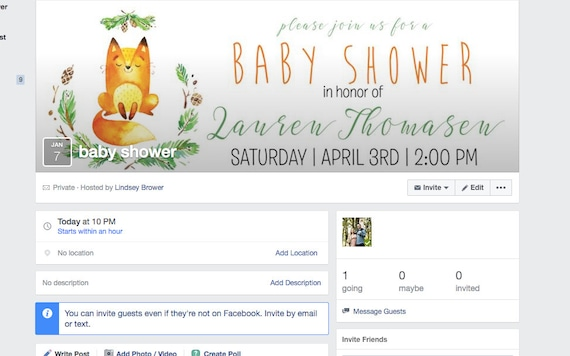 facebook event header woodland baby shower gender neutral etsy