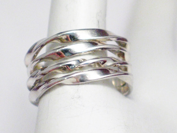 Sterling Silver ring wide twist pattern stacking band size 10 vintage mens womens fine jewelry