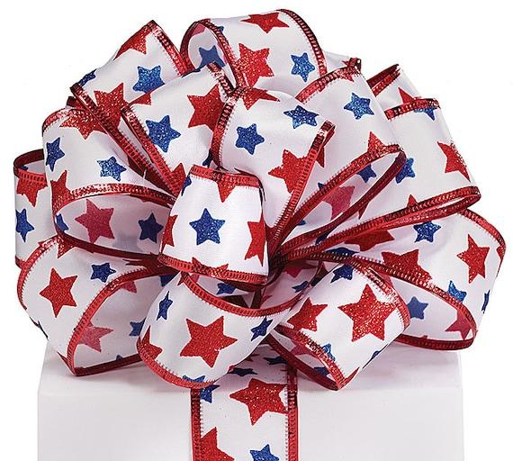 """Nouveau ruban patriotique étoiles ~ 4 juillet arc 1-1/2""""~ 4 juillet ruban ~ Ruban patriotique ~ ruban pour couronnes"""
