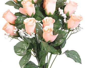 "New Artificial Peach Rose Bud Bush 18"" in length, 14 Peach Rose Buds 2"" long x 1.5"""