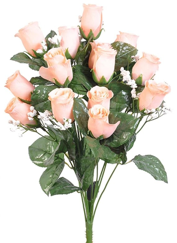New Artificial Pink Rose Bud Bush 18 in length 14 Pink Rose Buds 2 long x 1.5