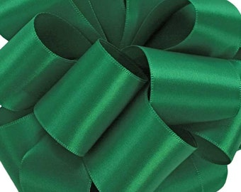 "New Single Faced Emerald Green Satin Ribbon 7/8"", 5/8"", 3/8"", or 1/4"""