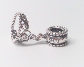 6f6a24276 New Authentic Pandora 925 ALE Sterling Silver My Princess Tiara Dangle  791117CZ Bead charm