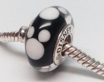 New Authentic Pandora Classic Mickey Disney Black White Murano Glass Charm 791633