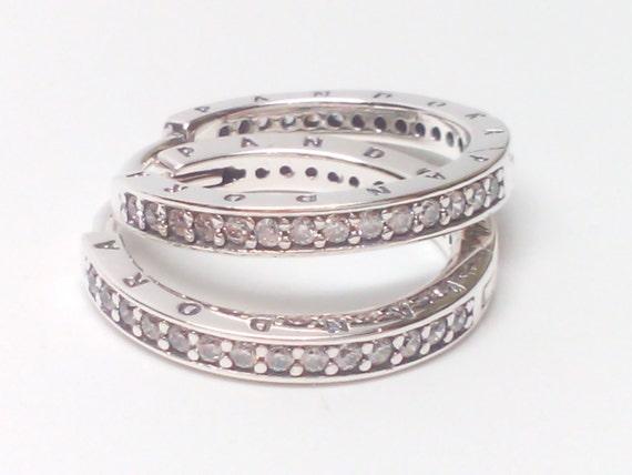 37a24f0dc New Pandora Sterling Silver PANDORA Signature CZ Hoop Earrings | Etsy