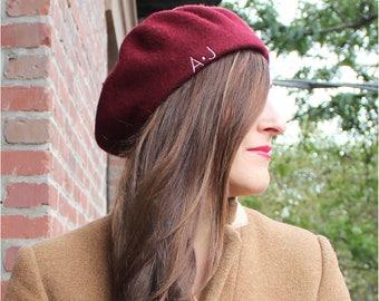 056c3bd30d3c1 Beret I Monogrammed I Personalized I Winter Hat I Monogrammed Beret I Gifts  for Her I Beret Hat