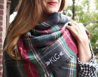 Blanket Scarf Women - Blanket Scarf Monogram  - Personalized Scarf -  Monogrammed Scarf - Plaid Scarf - Tartan Scarf - Blanket Scarves