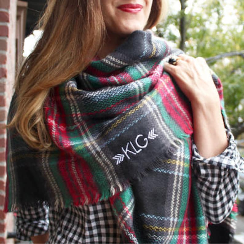 Blanket Scarf / Monogrammed Scarf / Personalized Scarf / Plaid Scarf /  Gifts for Her / Christmas Gifts for Teachers / Black Tartan