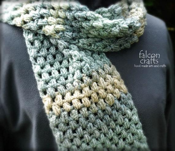 Häkeln Sie Acryl klobige unisex Schal grau grüne Marmor | Etsy