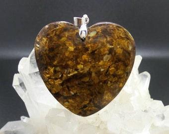 Sea Sediment Jasper with  Gold Copper Bornite Heart Pendant.