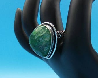 Green Solar Quartz Sterling Silver Ring, size 9.
