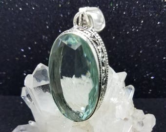 Apatite Sterling Silver Oval Pendant.