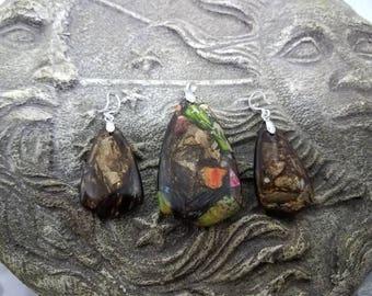 Sea Sediment Jasper with Gold Copper Bornite Pendant & Earrings.