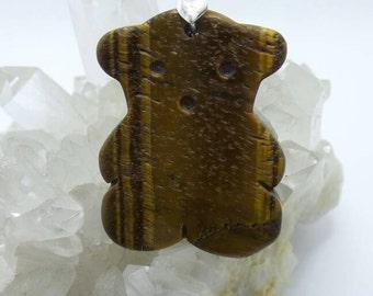 Tigre sculpté oeil pendentif ours en peluche.