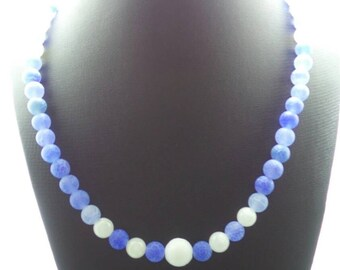 Handmade Blue Dreamfire Dragon Veins Agate with White Jade beaded necklace.