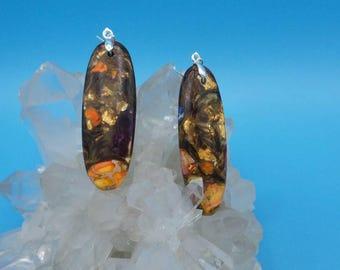 Sea Sediment Jasper with Gold Copper Bornite Sterling Silver Hook Earrings.