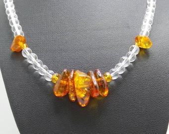Handmade Quartz Crystal and Amber beaded necklace.