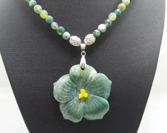 Handmade Indian Agate beaded necklace with Jade Lotus pendant.