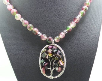 Handmade Tourmaline beaded necklace with wire wrapped Tree of Life pendant.