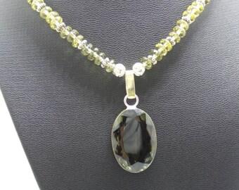 Handmade Smokey Quartz beaded necklace with beautiful faceted Smokey Quartz pendant.