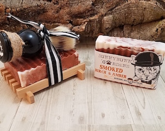 Mens Shave Soap Gift Set, Smoked Birch Soap, Shave Brush, Soap Dish