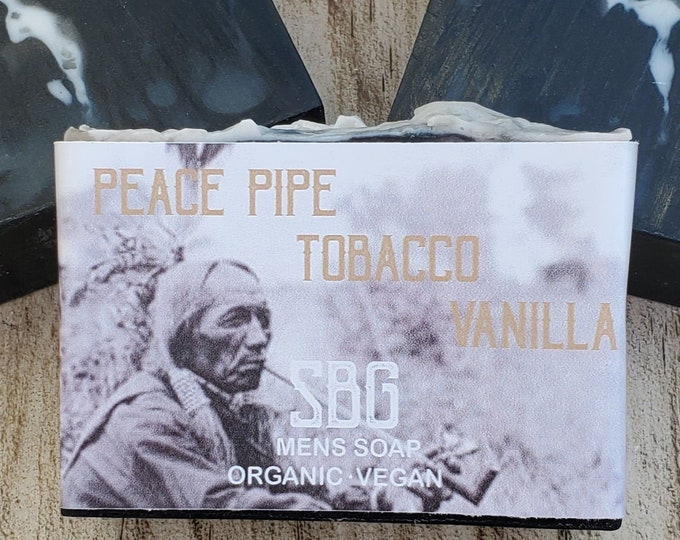 Featured listing image: Organic Charcoal Soap Bar | Tobacco Vanilla Soap | Masculine Soap | Mens Soap Gifts | Mens Gift Ideas | Plant Based Soap | Indian Peace Pipe