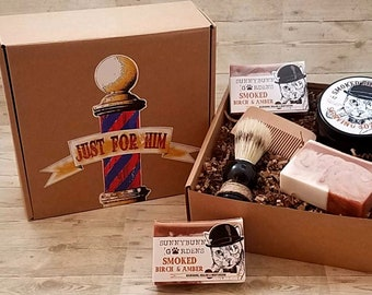Smoked Birch Amber Shaving Soap Box, Gifts For Him, Shave Brush, Shaving Kit Set, Husband Gifts