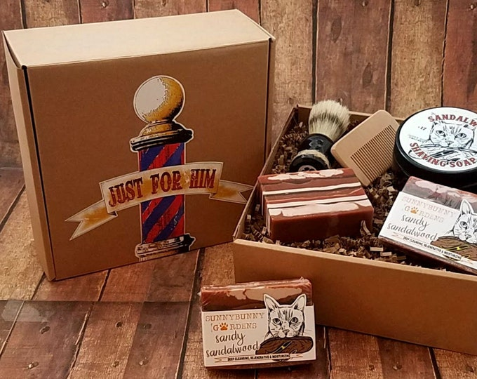 Featured listing image: Sandalwood Shave Soap, Mens Old Fashioned Soap Kit, Gifts For Him, Shaving Soap For Men, Shaving Soap Bar, Mens Shave Kit,