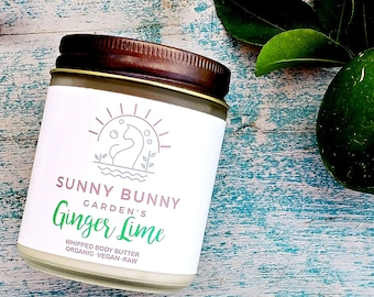 Ginger and Lime Body Butter, Organic Skin Care, Zero Waste Cosmetics, Shea Body Butter, Whipped Body Butter, Body Lotion, Natural Skin Care