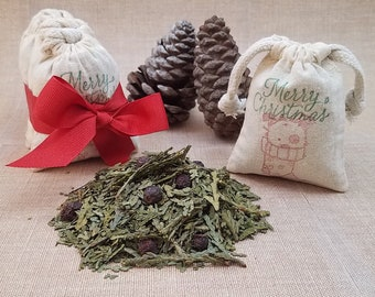 Holiday Scented Herb Sachet Gift, Stocking Stuffers, Christmas Scented Potpourri, Puppy Ornament, Holiday Party Favor Bags, Cute Puppy Gift