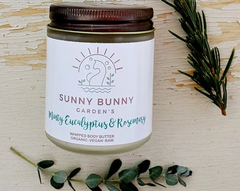 Mint Eucalyptus Body Butter, Organic Skin Care, Cooling Body Butter, Natural Skin Care, Body Moisturizing, Organic Body Lotion, Spa Gift