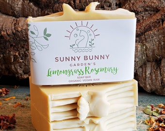Lemongrass Rosemary Soap   Eco Friendly Soap, Organic Soap Bar, Natural Skin Care, Zero Waste Cosmetics, Vegan Soap Bar, Antioxidant Soap