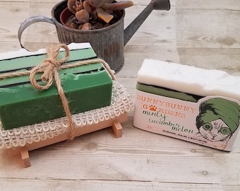 Mint Soap Gift Set, Natural Mint Soap, Organic Handmade, Soap Cozy, Soap Dish,