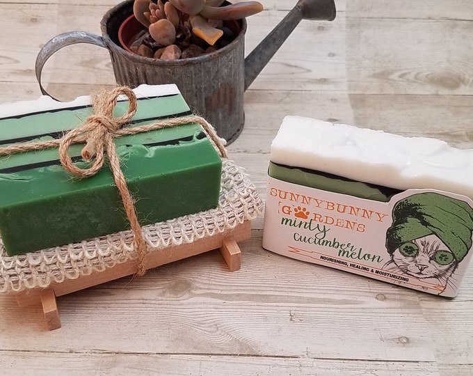 Featured listing image: Mint Soap Gift Set, Natural Mint Soap, Organic Handmade, Soap Cozy, Soap Dish,