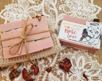 Rose Soap Gift Set, Rose Petals, Gifts For Mom, Rose Soap Bar, Organic Rose Bar Soap, Soap For Mature Skin, Organic Rose Soap For Mom