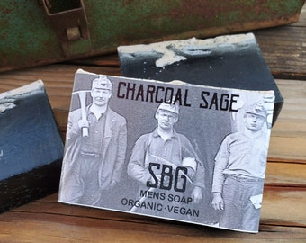 Activated Charcoal Soaps | Handmade Organic Lavender Sage Soap | Acne Soap Bar | Soap For Teens | Boys Soap | Mens Skin Care | Coal Miner