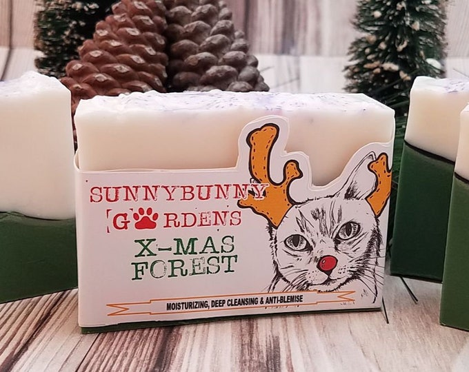 Featured listing image: Christmas Soap Bar, Pine Scented Soap, Holiday Season Soap Gift Ideas, Organic All Natural Soaps, Christmas Gift Ideas, Rocking Rudolph