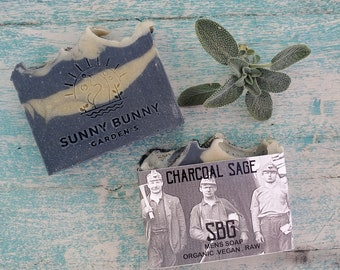 Activated Charcoal Soaps | Organic Lavender | Sage Soap | Acne | Gifts for Him | Teens