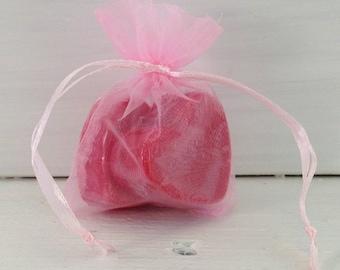 Pink Organza Favor Bag, Soap Favor Bag, 3x4 Pink Organza Favor Bag, Drawstring Bag, Small Organza Bag, Wedding Favor Bag, Bridal Favor Bag