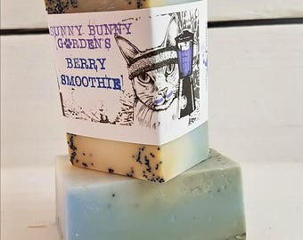 Berry Smoothie Exfoliating Soap, Blueberry Soap, Vegan Soap, Plant Based Soap, Dairy Free Soaps, Funny Soap Labels, Refreshing Soap
