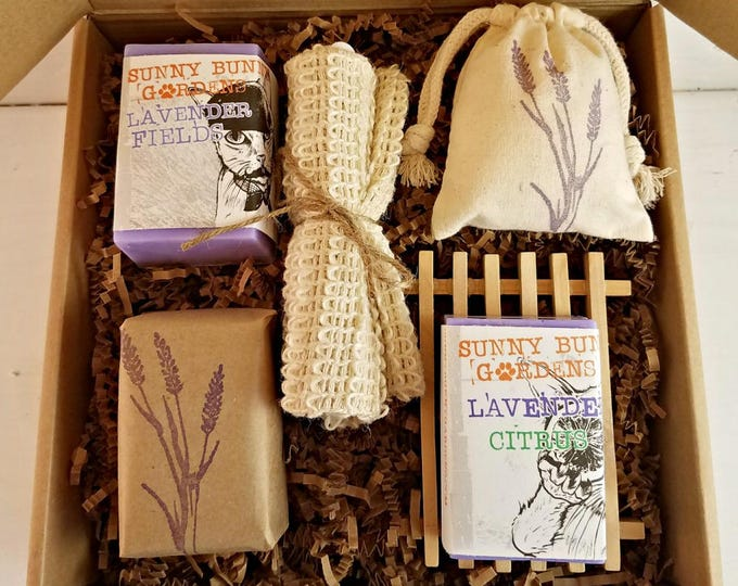 Featured listing image: Lavender Soap Gift Box, Organic Lavender Soap, Natural Lavender Soap Set, Vegan Lavender Soap, Lavender Soap Basket, Bridesmaids Gifts, Love
