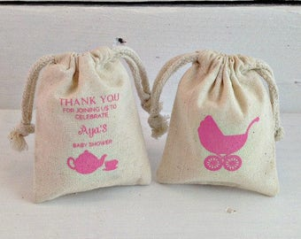 Personalized Sachet Favor Bag, Custom Baby Shower Favors, Stamped Muslin Bags, Baby Shower Favor Bags, Screen Printed Bags, Custom Bags