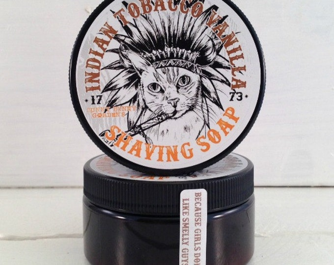 Featured listing image: Indian Tobacco Mens Shaving Soap Jar, Masculine Mens Soap, Shaving Soap for Men, Gifts for Men, Fun Gifts For Dad, Funny Cats, Wet Shave