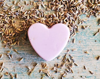 Lavender Mini Soap Favors | Pink Heart Soaps, Organic Skin Care, Wedding Favors, Lavender Soaps, Bridal Shower Favors, Small Gifts