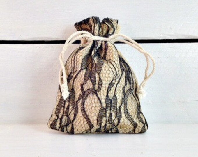 Featured listing image: Black Lace Burlap Favor Bag, Elegant Lace and Linen Wedding Favor Bag, Burlap Favor Bag, Burlap Wedding Favor Bag, Rustic Wedding Favor Bag