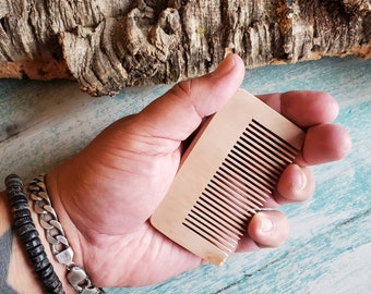 Beard Comb | Wooden Beard Comb | Handmade Mens Comb | Beard Gifts | Pocket Comb | Wallet Comb | Gifts for Dad | Fathers Day Gifts | Grooming