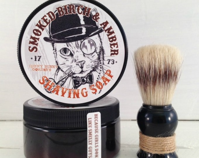 Featured listing image: Smoked Birch and Amber Shaving Soap | Groomsman Gifts | Gift For Dad